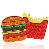 sgoseye 2 Pezzi Pop Fidget Toy Set Push Bubble Squeeze Sensory Toy Autismo Speciale Bisogno Antistress Ansia Sollievo Silicone Giocattoli per Bambini Anziani Adulti (Hamburger+Patatine Fritte)