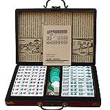 LEERAIN Dominó Chino Chino Tradicional Lujo Mahjongg/Mahjong Club Set PortáTil Juego Juego Azulejos 144 Piezas Juego Mesa para La Fiesta En Casa con Caja Cuero Estilo Retro,Red,30