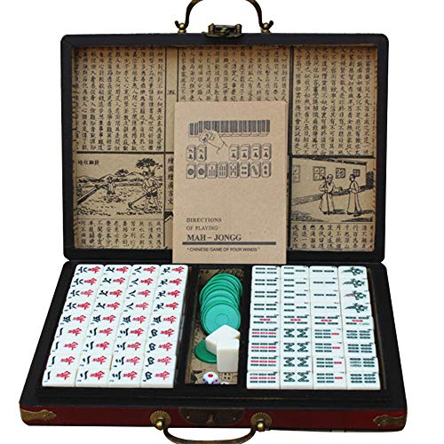 LEERAIN Dominó Chino Chino Tradicional Lujo Mahjongg/Mahjong Club Set PortáTil Juego Juego Azulejos 144 Piezas Juego Mesa para La Fiesta En Casa con Caja Cuero Estilo Retro,Red,22