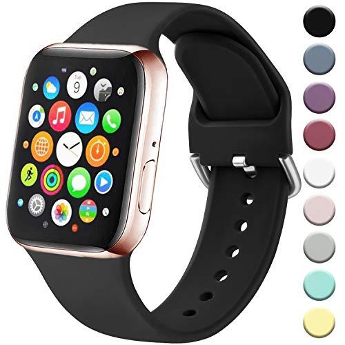 Amzpas Cinturino Compatibile per Apple Watch 38mm 40mm 42mm 44mm, Nuovo Cinturino in Silicone di Sportivo Morbido per iWatch Series 5,4,3,2,1 (42/44mm S/M, 01Nero)