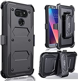 LG V30 Phone Case, Eofon Durable and Rugged Heavy Duty Case for The LG V30+ Comes with Multi-Use Belt Clip(Black)