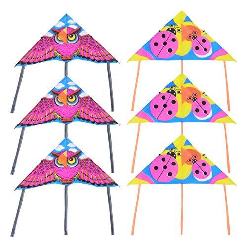 LUOEM Niños Cometas de Animales Búho Mariquita Juguetes Voladores Cometa Triangular con Cinta de Colores Cola Larga Cometas Fáciles de Volar Playa Juguetes de Jardín para Niños Adultos