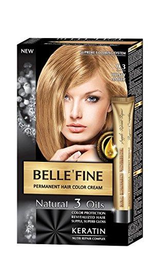 BELLE'FINE® - Coloration crème pour cheveux Black Series - luxueux - coloration naturelle/permanente - 3 huiles/kératine - MIEL AMBRÉ