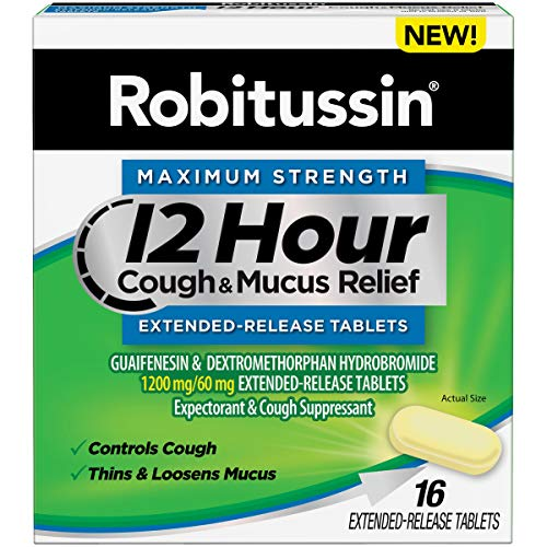Robitussin Tablet 12 Hour Cough & Mucus Relief Extended-Release, Controls Cough, Thins & Loosens Mucus, Alcohol Free, 1 Capsule Every 12 Hours, 16 Tablets