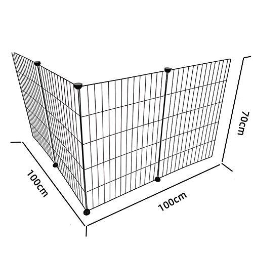 GBY Hundezaun, faltbares Metall-Haustier-Isolationsgeländer, einfacher Hundekäfig, geeignet für kleine Hunde, schwarz, 100 * 100 * 70 cm