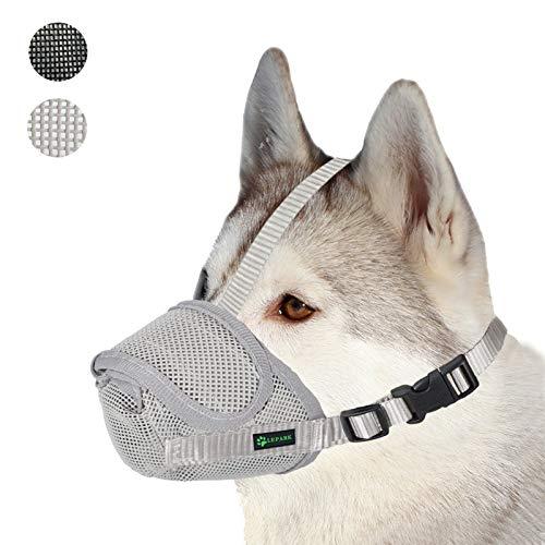 ILEPARK Nylonnetz Maulkorb mit Sicherheitsriemen für Kleine, Mittlere und Große Hunde, Verhindert Beißen, Bellen und Kauen (M,Grau)