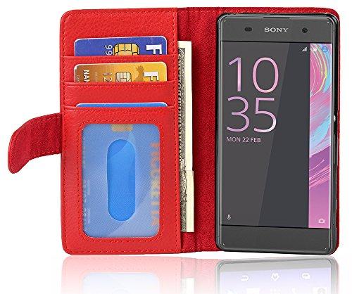 Cadorabo Hülle für Sony Xperia XA in Inferno ROT – Handyhülle mit Magnetverschluss & 3 Kartenfächern – Hülle Cover Schutzhülle Etui Tasche Book Klapp Style