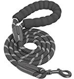 iYoShop 6FT Strong Dog Leash with Comfortable Padded Handle and Highly Reflective Threads Dog Leashes for Small Medium and Large Dogs, Black with White, Medium Large (6 FT)