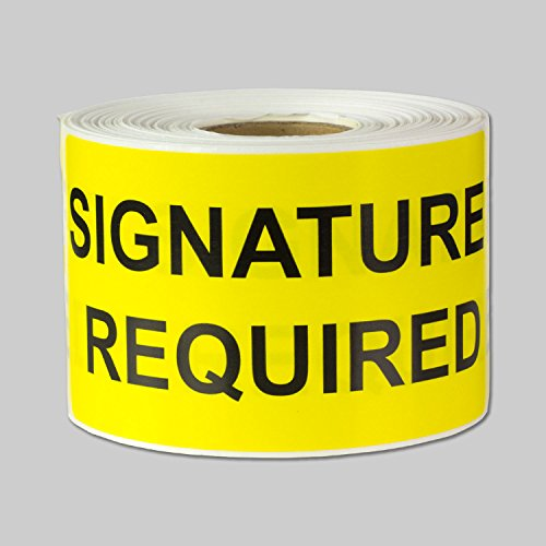 """Signature Required Labels Self Adhesive Stickers (Yellow Black / 4"""" x 2"""") - 300 Labels per Package"""