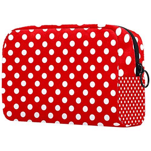 Schminktasche Reise Kosmetiktasche Tasche Geldbörse Handtasche mit Reißverschluss - Red Polka Dot Vintage Retro