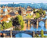 NC56 大人のデジタル絵画美しいプラハの風景DIYオイルペインティングキット家の壁の装飾アートクラフト