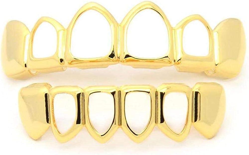 canjoyn New Joker Rapper 18K Gold Plated Hip Hop Teeth Grillz Caps Fangs Top & Bottom Grill Set Teeth (Hollow Gold Set)