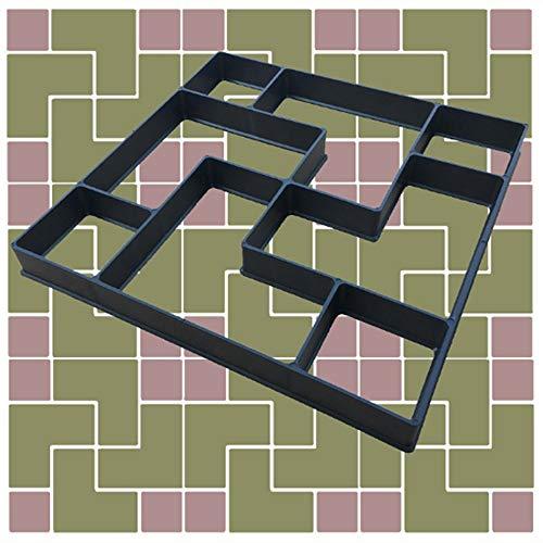 Garten Pflasterform Muster Spaziergang Maker DIY-Platz Betonformen Reusable Plastic P ath Maker Einweichen Steinpflaster Cement Brick Mold für Gartenrasen (Color : Black, Size : One Size)