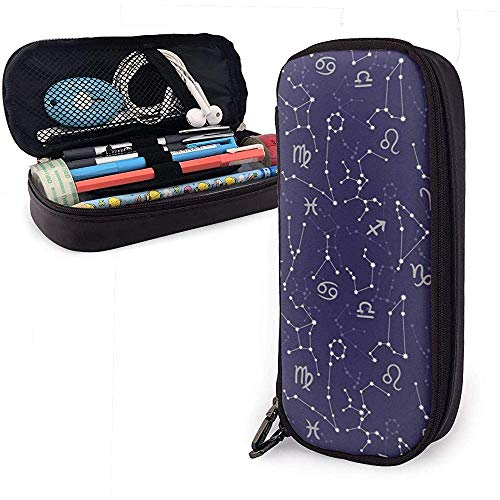 Federmäppchen Constellations Cosmic Cute Pen Pencil Case Leather Pouch Bag Pencil Case with Double Zipper Holder Box for Girls Boys Adults