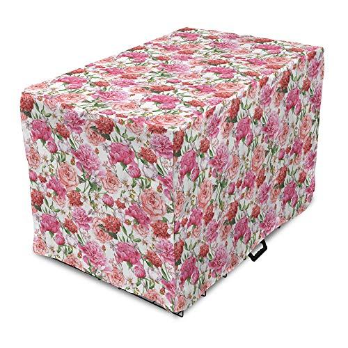 ABAKUHAUS Shabby Flora Hundekistenabdeckung, Spring Garden Roses, einfach verwendend Hundekäfigabdeckung für mittelgroß Hunde, 90 x 60 x 70 cm, Pale Pink Pink
