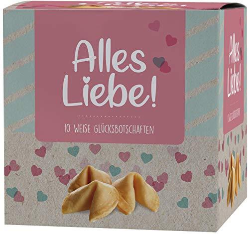 """NI HAO """"Alles Liebe"""" Glückskekse in schöner 10er Box mit einzeln verpackten Keksen und verschiedenen Sprüchen - Made in Germany"""