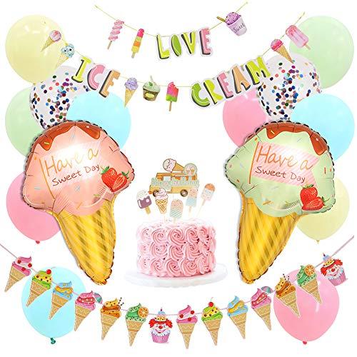 Decoraciones para fiestas de helados, aderezo para pastel de helado de verano, guirnaldas y globos de helados, fiesta de cumpleaños, juegos de suministros para la ducha del bebé