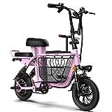 TGHY Bicicleta Eléctrica Plegable E-Bike de 12' 350W para Adultos Canasta de Gran Capacidad para Compras Familiares 3 Asientos para Bebés Y Niños Batería de 48V Amortiguadores Duales,Rosado,15km