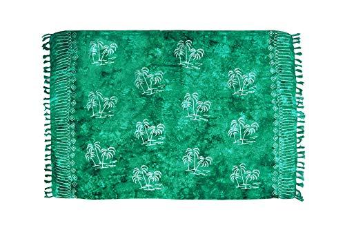 MANUMAR Damen Pareo blickdicht, Sarong Strandtuch in Tosca-Grün mit Palmen Motiv, XL Größe 175x115cm, Handtuch Sommer Kleid im Hippie Look, für Sauna Hamam Lunghi Bikini