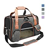 Purrpy Premium Cat Dog Carrier Airline Approved Soft Sided Pet Travel Bag, Car Seat Safe Carrier Deep Grey M