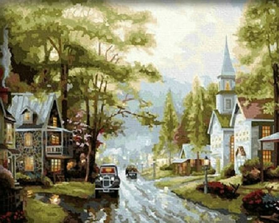Colour Talk DIY Oil Painting, Paint by Number kit - Small Town 1620 inch.