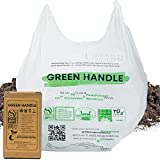 Green Handle US - BPI certified Compostable Kitchen Compost Bin Liner Trash Bags with Handles | T-shirt Type Wet Food Waste Reusable Grocery Bag | Easy Tie, Extra Thick (22 mic or 0.87 mils) up to 2.6 Gallon, 9.8 Liter | US BPI ASTM D6400 Europe OK Compost Home and Seedling Certified | Designed in California (50 Count - Suitable for 3+)