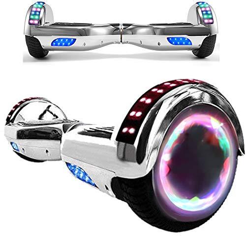 Magic Vida Overboard 6.5 Pouces Bluetooth Puissance 700W avec Deux Barres LED Gyropode Pas Cher Auto-Équilibrage de Bonne qualité pour Enfants et Adultes(Argent Chromé)