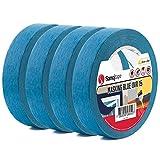 Ruban de Masquage Bleu à usage Professionnel de Sanojtape | Lot de 4-25 mm x 50 m | Résistant aux UV jusqu'à 14 jours en extérieur | Ruban de Masquage pour Peintres en Intérieur et en Extérieur