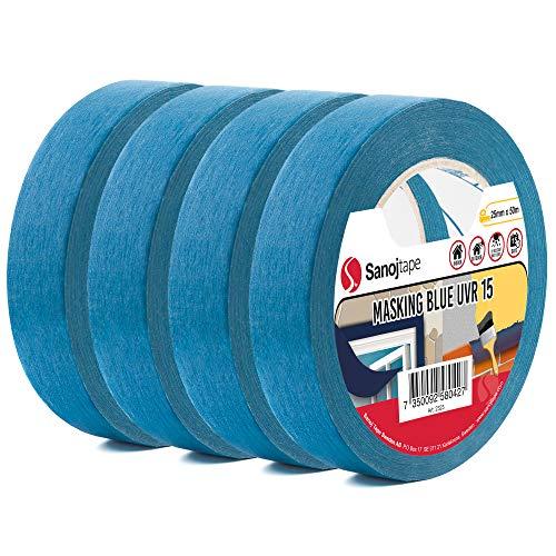 Sanojtape Professionelles UV-beständiges Abklebeband (Viererpack) Blau 25mm x 50m Für Innen und Außen Malerkrepp Malerband Malerabdeckband Abklebeband für alle Oberflächen