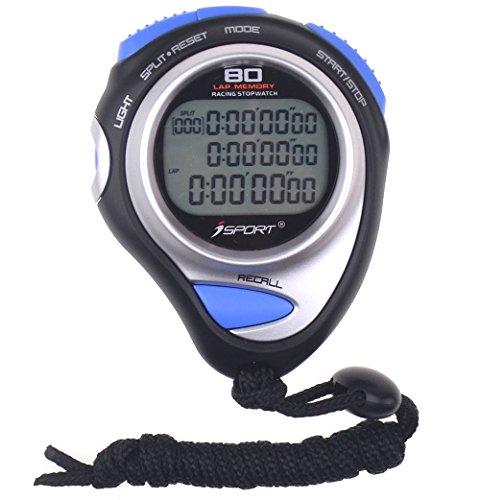 Cronometro digitale con display a tre file, cronometro da corsa, cronometro con memoria a 80 giri, per allenatori sportivi e arbitri