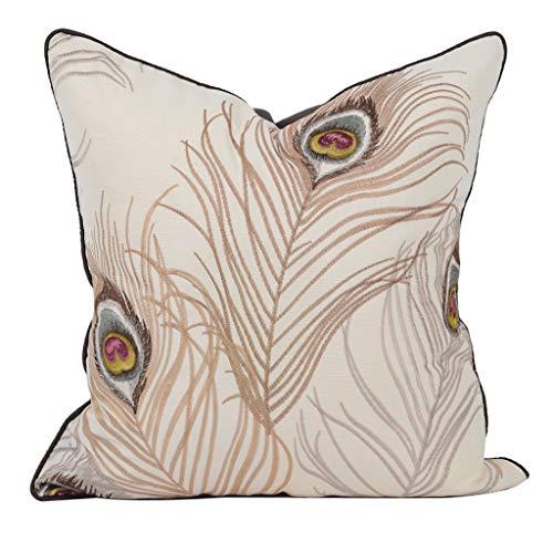 AOHAI Fundas de almohada retro decoración funda de almohada bordada, funda de cojín con patrón de plumas de pavo real para sofá, cama, coche, funda de cojín (color: beige, tamaño: 50,8 x 50,8 cm)