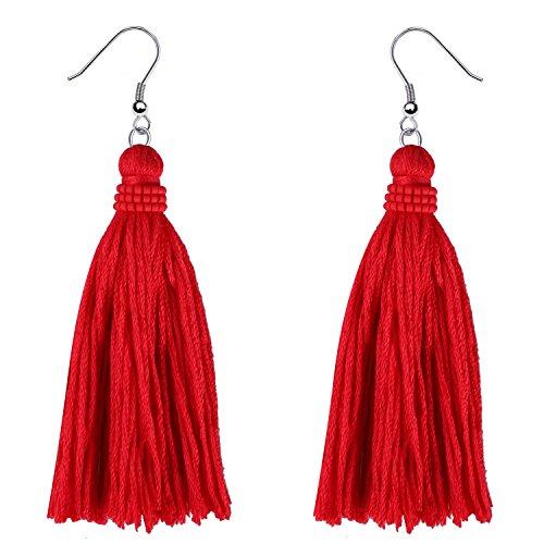 KELITCH Quaste Ohrringe Bohemian Baumeln Ohrringe Frauen Handgemachte Farbe Quaste Drop Ohrring Neue