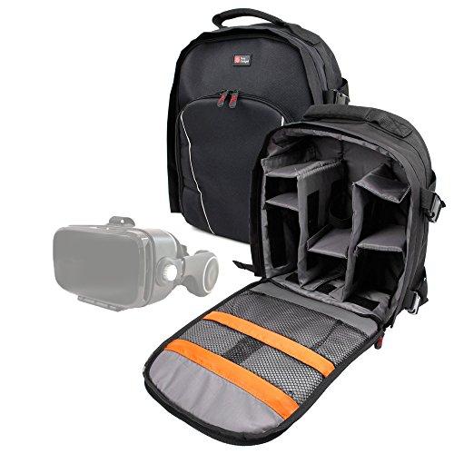 DURAGADGET Sac à Dos de Transport Noir pour Casque réalité virtuelle Orange VR1 / VR 1 - Compartiments de Rangement