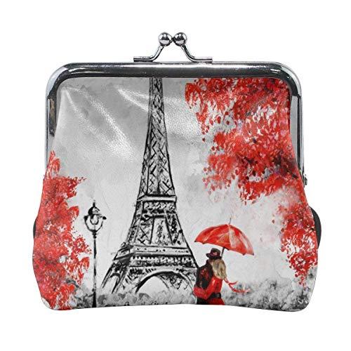 Paris Lovers Kiss In Street Ombrello rosso Torre Eiffel Portafoglio da donna con pochette in pelle personalizzata con portamonete classico floreale