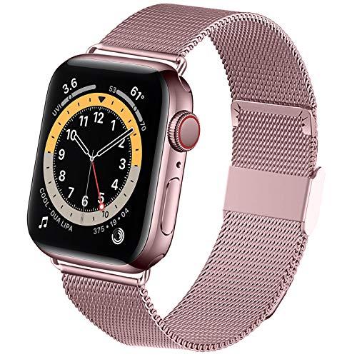 Jinlida kompatibel mit Apple Watch Armband,Flexible atmungsaktive rostfreie Schlaufenersatzbänder Kompatibel mit iWatch Series 6/5/4/3/2/1/SE(Roségold 42MM 44MM)
