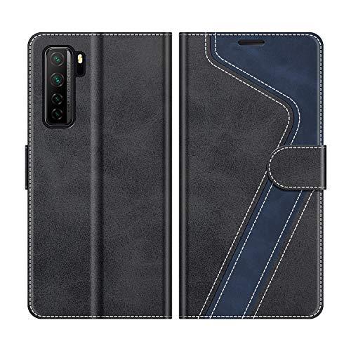 MOBESV Handyhülle für Huawei P40 Lite 5G Hülle Leder, Huawei P40 Lite 5G Klapphülle Handytasche Hülle für Huawei P40 Lite 5G Handy Hüllen, Modisch Schwarz
