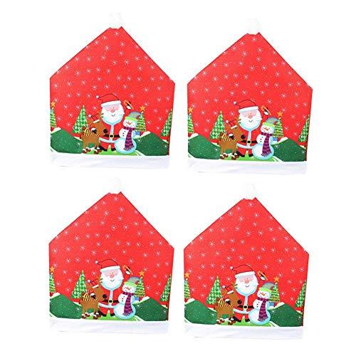 advancethy - Juego de 4 fundas para silla de Papá Noel, diseño de muñeco de nieve, color rojo