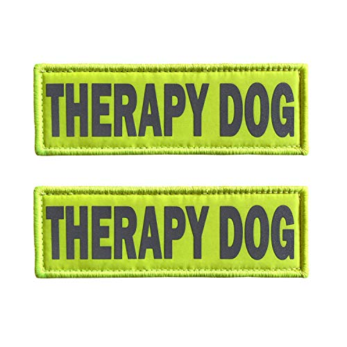 JUJUPUPS Reflective Dog Patches 2 Pack Service Dog ,in Training, DO NOT PET Tags with Hook and Loop Patches for Vests and Harnesses (6x2 inch, Therapy Dog)