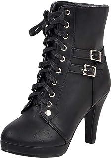 TAOFFEN Women Autumn Boots Stiletto Heels Ankle Boots Lace up