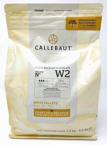 Callebaut N° W2 (28%) - Feinste Belgische Weiße Schokolade - Finest Belgian White Chocolate (Callets) 2,5kg