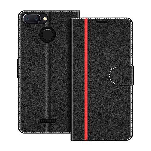 COODIO Funda Xiaomi Redmi 6 con Tapa, Funda Movil Xiaomi Redmi 6A, Funda Libro Xiaomi Redmi 6 Carcasa Magnético Funda para Xiaomi Redmi 6 / 6A, Negro/Rojo