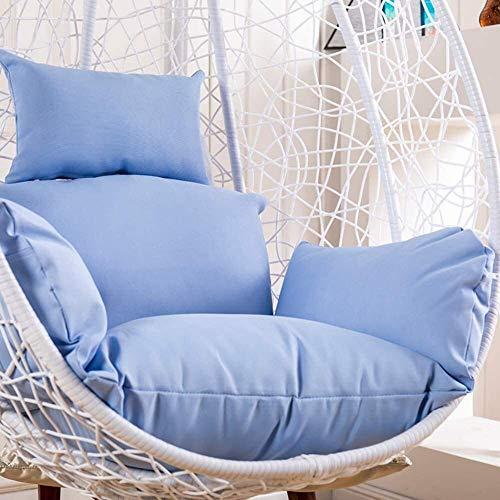 Cojín para silla colgante de polialgodón grueso, extraíble, lavable, de elasticidad suave, huevo colgante, cojín de asiento oscilante de elasticidad, respaldo de silla colgante con almohada, azul ciel