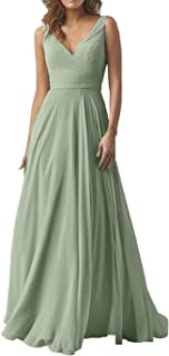Women's Elegant Double V Neck Formal Wedding Party Dresses Long A-Line Chiffon Bridesmaid Dress 2019 B014