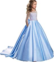 TIFENNY Kids Girl Bowknot Tuxedo Princess Dresses Pageant Gown Party Birthday Wedding Long Dress Long Sleeve Mesh Tops