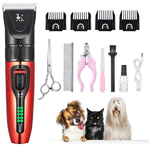 Balimo Tierhaarschneider Haarschneidemaschine Schermaschine für Hund Katze Haustier 11 in 1 Wiederaufladbare Haarschneider Elektrische Hundeschermaschine Pflege Clipper (ROT)