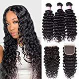 Beauty Forever Hair 8A Grade Malaysian Deep Wave 3 Bundles with Lace Closure 4X4 inch Free Part Unprocessed Virgin Human Hair Deep Curly Bundles with Lace Closure Natural Color (14 16 18+12 closure)