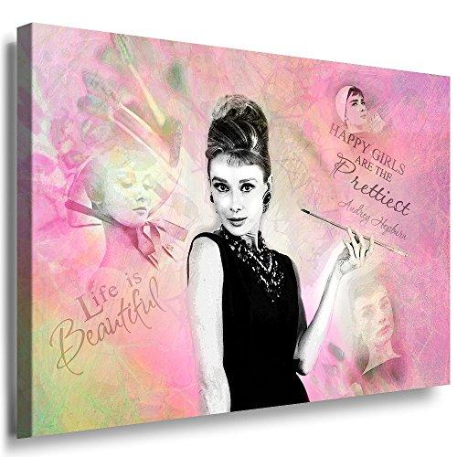 Julia-Art Bilder - Audrey Hepburn Wandbild Quotes Sprüche Zitate Leinwandbild XXL 60 x 40 cm - Große Sortiment - Kunstdrucke mit Haken sofort aufhängbar au-01-2