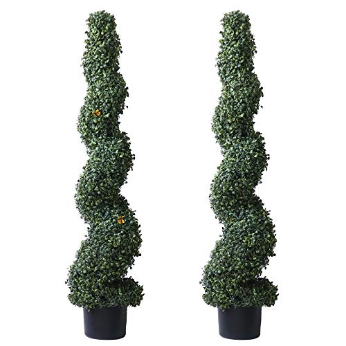 4' Lush Artificial Topiary Trees for Outdoor Home Decor 2 Pack Potted Spiral Boxwood Trees with Butterfly