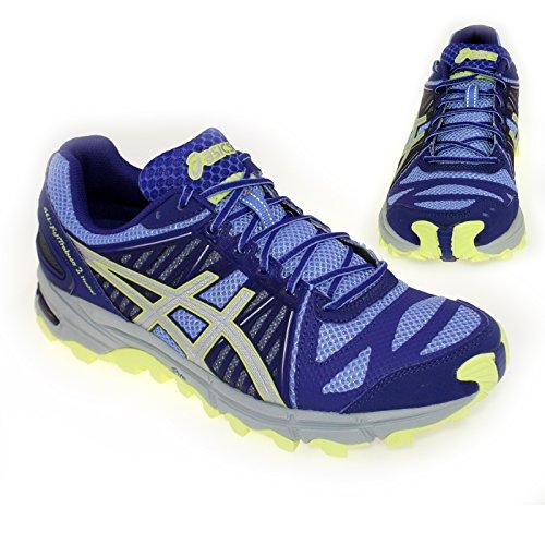 Asics Gel-Fuji Trabuco Neutral 2 señoras de los zapatos corrientes de azul T3J7N 3593
