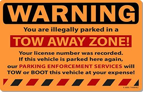 "50 Orange Fluorescent Tow Away Zone! Warning Violation Towing Auto Car Window Stickers 8"" X 5"""
